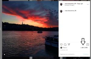 come vedere i like di Instagram, una foto di un tramonto