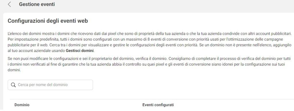 configurare eventi Facebook ADS