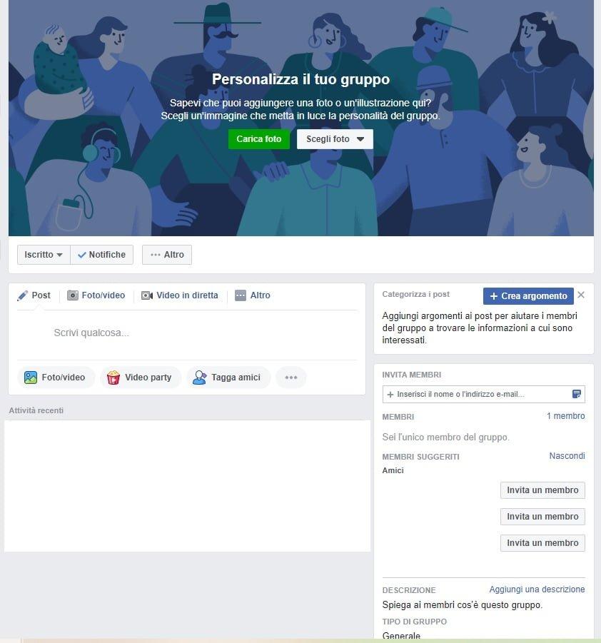 creazione ed impostazione gruppo facebook